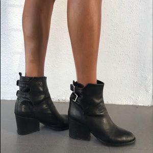 Genuine leather heel boots